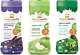 Happy Baby Organic Puffs Variety Pack of 3 (Purple Carrot Blueberry, Apple, Greens)