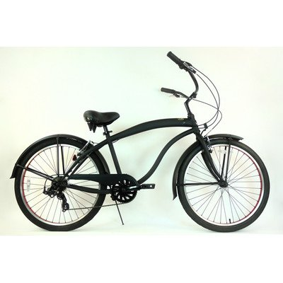 7-Speed Beach Cruiser Frame Color: Flat Black with Red Wheels (Mens)