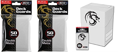 COMBO- BCW WHITE Standard Deck Case plus 2x 50ct Pks (100) of WHITE Double Matte Deck Guard Sleeves for Collectable Gaming Cards like Magic The Gathering MTG, Pokemon, YU-GI-OH!, & More. Dragon Graphic on BOX. - 1