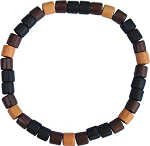 Amazon.com: Black, Brown and Tan Wood Beaded 8.5 Inch Stretch Bracelet
