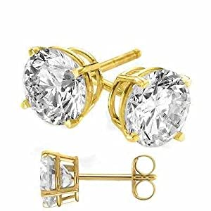 14 Karat Real Gold Plated on Authentic 925 Sterling Silver Stud Earrings. Nickel Free 2 Carat Total Weight Round Cubic Zirconia Diamond Quality Stones.