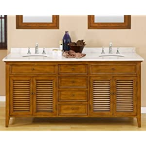 Unfinished Bathroom Vanities on Oak Bathroom Cabinets  70 Inch Oak Shutter Double Sink Bathroom Vanity