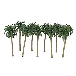 Imported 10pcs Green Model Coconut Palm Trees 1/65 16cm