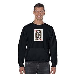 TYYC King of Hearts Printed Round Neck Mens Sweatshirt Black_XXL