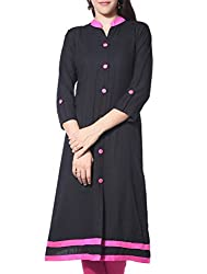Femeie Women's Free Size Regular Fit Black and Pink Stitched Cotton Long Sleeve Embroderied Kurtas (New-designer)