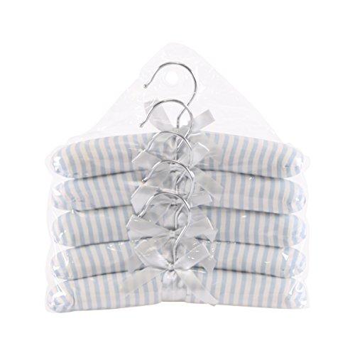 Neoviva Cotton Fabric Coat Hanger Set for Baby, Slim Striped Blue