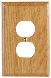 Leviton 89203-OAK 1-Gang Duplex Outlet Wallplate, Light Oak