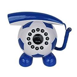 Football Shaped Corded Landline Telephone - 1m214 - White/Blue - Novelty Home Decor Creative Fixed Line Phone