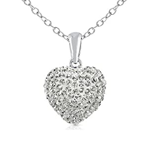 925 Sterling Silver Cubic Zirconia Cz Crytals Heart Pendant Large 15mm Heart Shape Chain Not Included