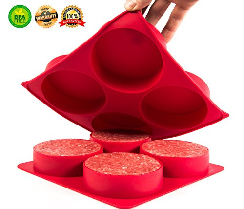 Burger Press | Stuffed Hamburger Patty Maker Set. Stuff Big 1/2 pound Patties for your next BBQ Grill Party. Freezer Container for Storage of Soups, Chili, Sauce & more. Make Quiches, Pies, Hash Browns directly in the Oven. Non stick Silicone Mold