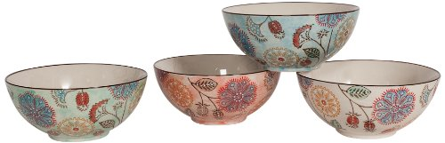 Couleur Nature Floral Ceramic Large Bowl, Set Of 4