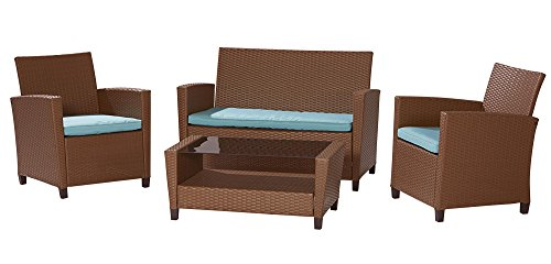 Cosco dorel industries outdoor 4 piece resin wicker patio for Teal and brown chair