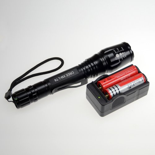 Super Bright 1600Lm Cree Xm-L T6 Zoomable Led Flashlight Torch Lamp, 5 Mode, With Charger And 2X 18650 Battery