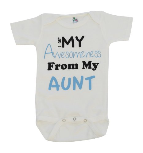 Kiddieco Baby Awesome Aunt White Onesie 0-3 Months Blue Print