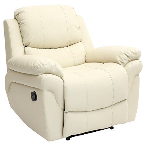 MADISON LEATHER RECLINER ARMCHAIR SOFA HOME LOUNGE CHAIR RECLINING GAMING (Cream)