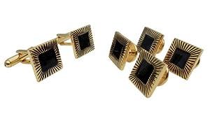 Grooved Pinstripe Black Enamel Cufflink Stud Set by Men's Collections (cs10)
