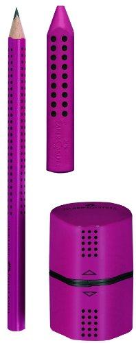 Faber-Castell 280283 - Jumbo GRIP Set, mit 1 Bleistift, 1 Radierer + 1 Spitzer, brombeere