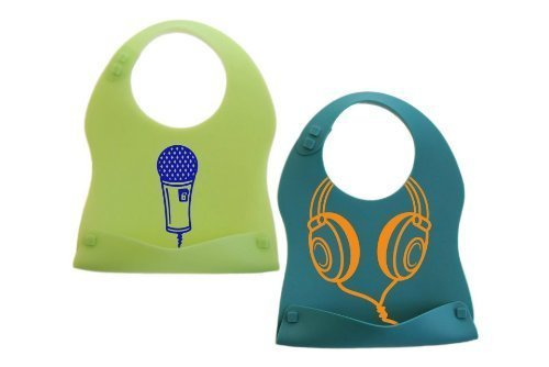 Kinderville Little Bites Silicone Bibs (Set of 2, Blue/Green)