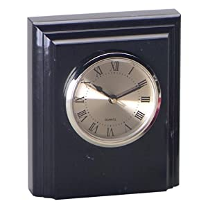 Jet Black Marble Square Desktop Clock With Bevel