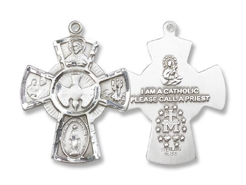 5-Way Crucifix Cross Sterling Silver Medal with 24