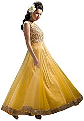 Sayshopp Fashion Women's Georgette Unstitched Salwar Suit(Yellow)