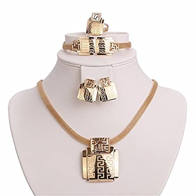 Moochi 18K Gold Plated Africa Style Golden Necklace Jewelry Set Party Dance