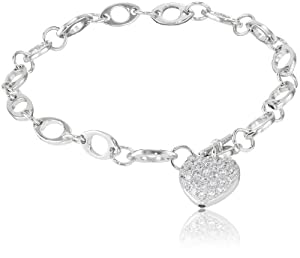 Sterling Silver Pave Simulated Diamond Heart Bracelet, 7.25