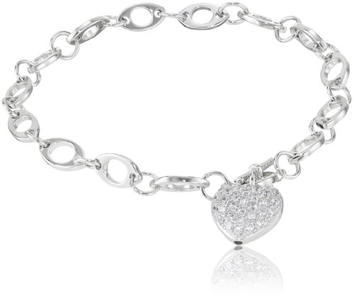 Sterling Silver Pave Simulated Diamond Heart