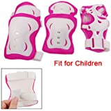 3 Sets Children Fuchsia White Knee Palm Elbow Protective Pad Support