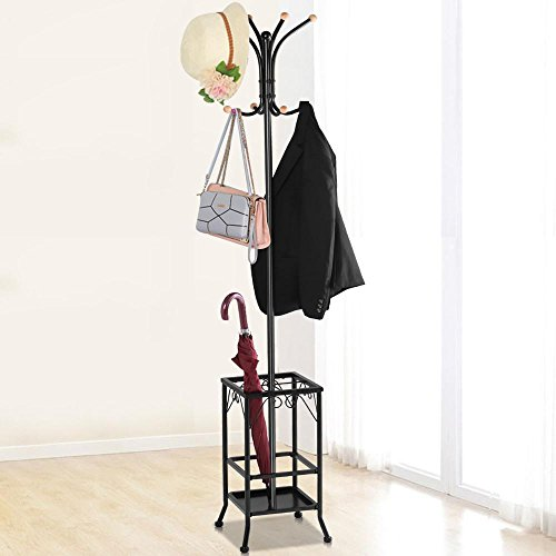 Yaheetech Metal Coat Rack Umbrella Stand Holder Vintage Hat Jakcet Metal Tree 8 Hooks 0