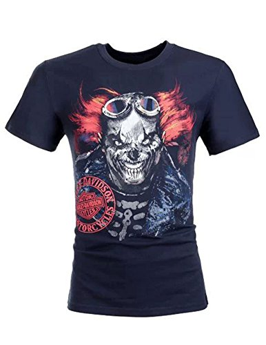 Pleasanter Men's Harley-Davidson Clowning Rider Skull Short Sleeve Shirt Tees Blue