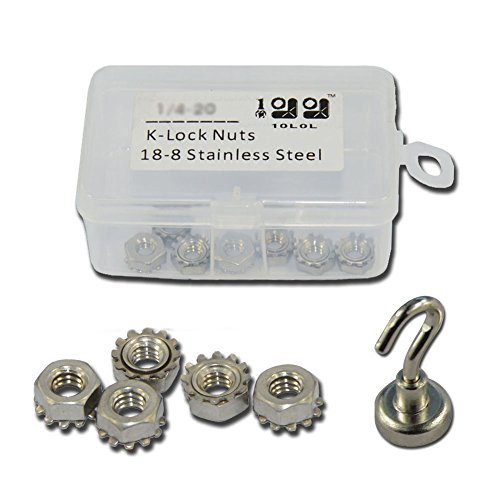 10L0L 18-8 Stainless Steel UNC Hex Bolts and Nuts, 50pcs-pack (K-lock nuts(1/4-20))