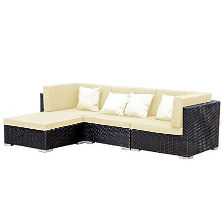 Mobili da giardino Bergen Lounge nero-beige in alluminio