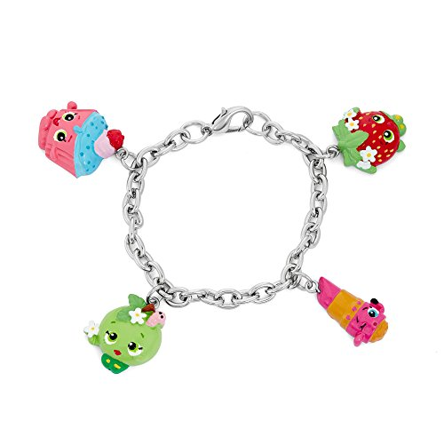 Shopkins Pretend Play Girl's Charms Bracelet - Strawberry Kiss, Lippy Lips, Cupcake 'Chic, Apple Blossom