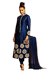 Mandani Fashion women's Bhagalpuri Silk Party Wear Unstitched dress material(SF266_Navy Blue color)