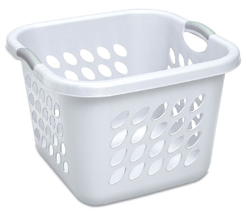 Sterilite 12178006 1.50-Bushel Ultra Square Laundry Basket, 6-Pack, White with Titanium Handles