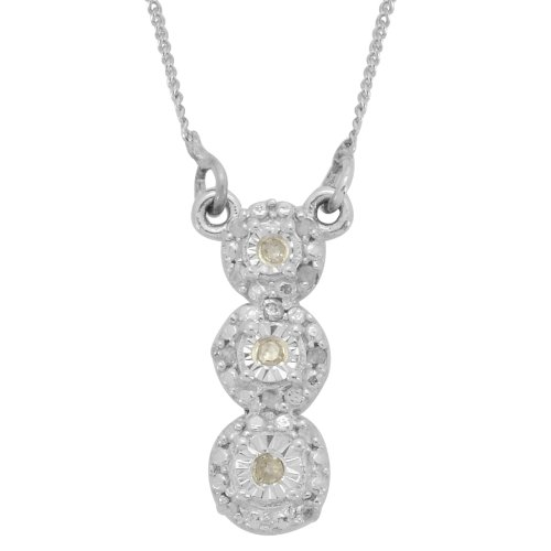 TJC Diamond (Rnd) Pendant With Chain in Platinum Plated Sterling Silver 0.100