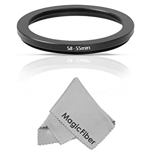 Goja 58-55mm Step-Down Adapter Ring (58mm Lens to 55mm Accessory) + Premium MagicFiber Microfiber Lens Cleaning Cloth