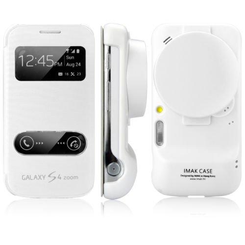 IMAK フリップ PU レザー ハードシェル カバー ケース For サムスン Samsung C101 GALAXY S4 Zoom (ホワイト)