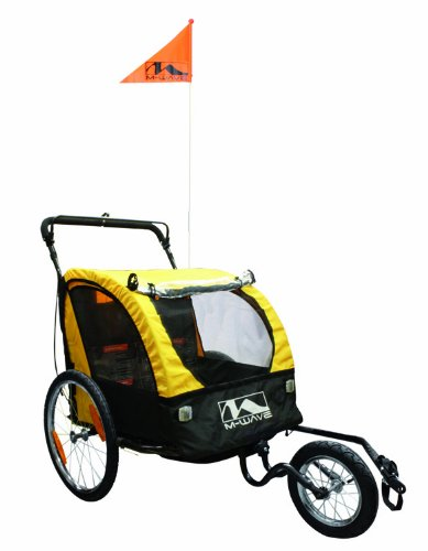 M-Wave 2 In 1 Bicycle Trailer/Jogger (Yellow/ Black, 61 X 75 X 58-Cm) front-739991