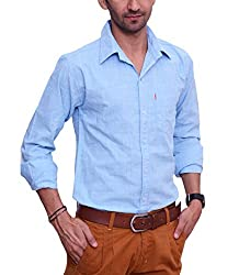 Ballard Men's Casual Shirt (BCS0019_Light Blue_44)