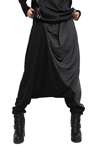 ELLAZHU Women Baggy Harem Drapes Color-Block Pants Onesize GM274 Black