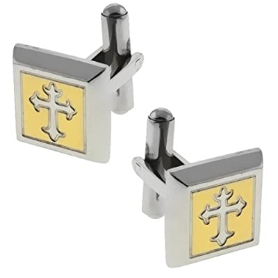 Gold and Silver Color Square Cross Design Stainless Steel Men Cufflinks 15X15MM
