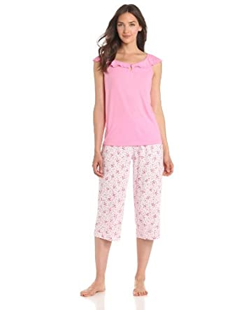 Karen Neuburger Women's Fly With Me Sleeve Combo Pullover Crop Pajama Set, Scroll Ditsy Rose, Large