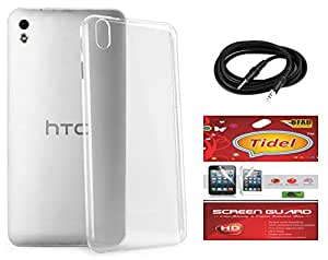 Tidel Silicon TPU Transparent Soft Back Cover For HTC Desire 626 With Tidel Screen Guard & Aux Cable