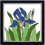 BLUE IRIS TILE, BLUE IRIS WALL PLAQUE, BLUE IRIS TRIVET by Besheer Art Tile, Bedford, New Hampshire, U.S.A.