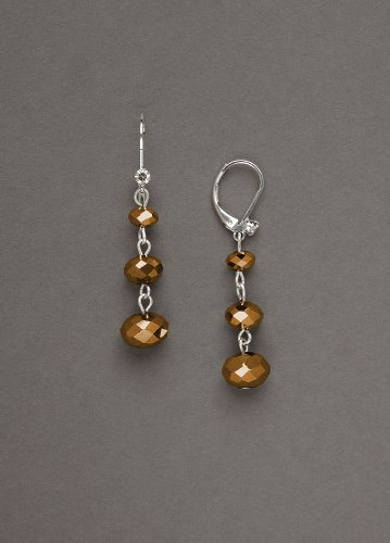 David's Bridal Graduated Faceted Bead Dangle Earring Style J4588EP, Brown