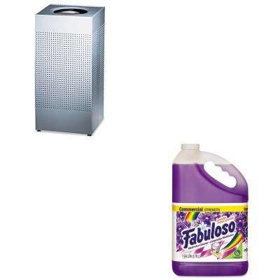 Kitcpm04307Earcpsc14Eplsm - Value Kit - Designer Line Silhouettes Receptacle, Steel, 16 Gal, Silver Metallic (Rcpsc14Eplsm) And Fabuloso All-Purpose Cleaner (Cpm04307Ea)