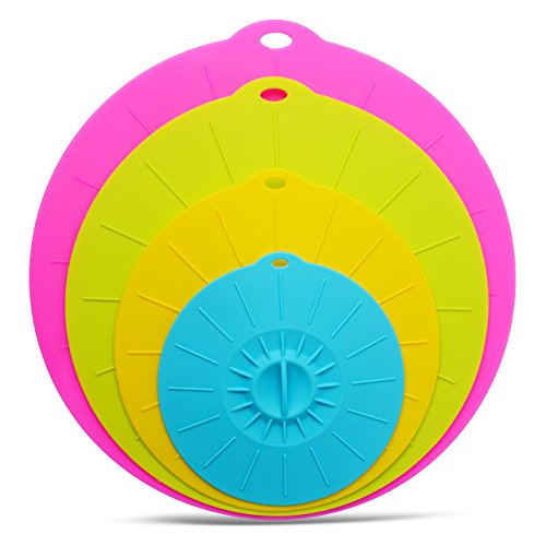 BellaLoré Silicone Lids 6, 8, 10, 12 inch. Use your Suction Lids for your Bowls, Cups, Pots, Pans and Skillets. Microwave and Food Safe Covers. Free Silicone Brush