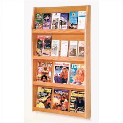 "Solid Wood Literature Rack - Medium Oak - 24 (Medium Oak) (49""H x 28.5""W x 4.75""D)"
